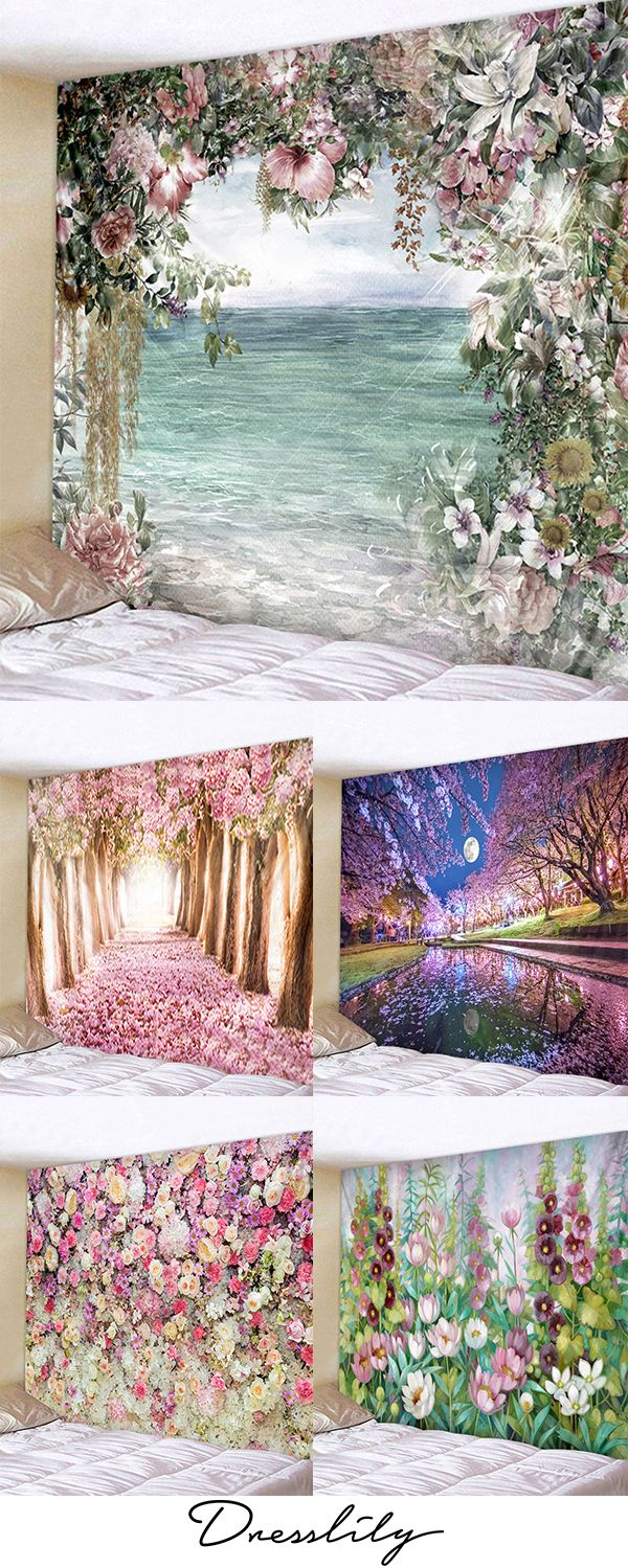 Flower Tapestry Wall Hanging Art Decoration. #dres…