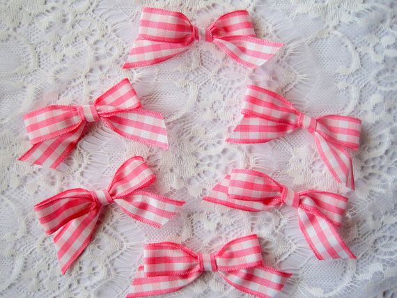 Gingham Tie Ribbon Bows 2 3/4 X 2 inches by PrimroseLaceRibbon, $4.75