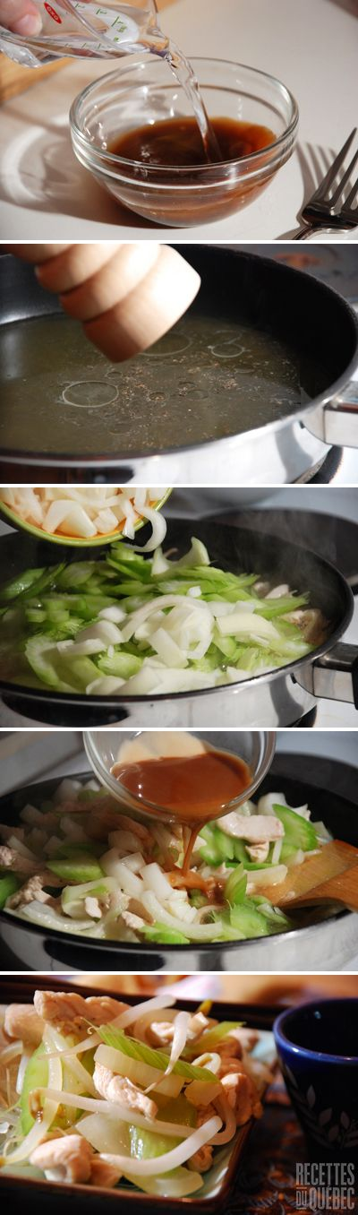 Le chow mein au poulet, un repas facile prêt en 35 minutes! http://www.recettes.qc.ca/recette/chow-mein-au-poulet-70 #recettesduqc #poulet #chowmein