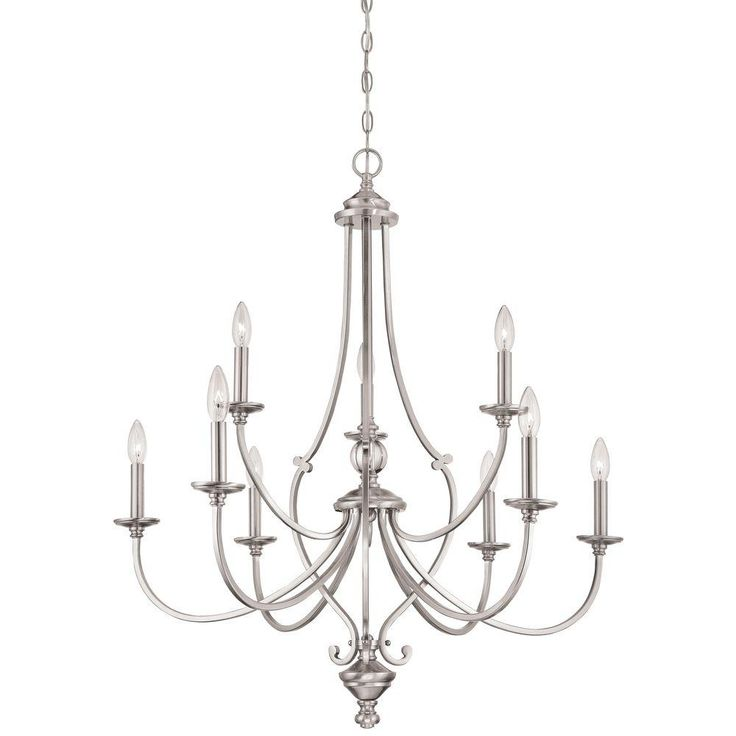 Minka Lavery Savannah Row 9-Light Brushed Nickel Chandelier-3339-84 - The Home Depot