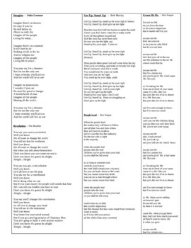 Social Protest Poetry / Song Lyrics