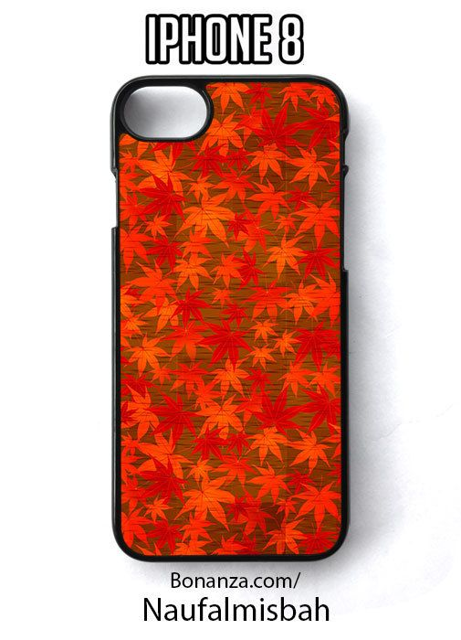 Red Leaves Print Pattern iPhone 8 Case Cover - Cases, Covers & Skins