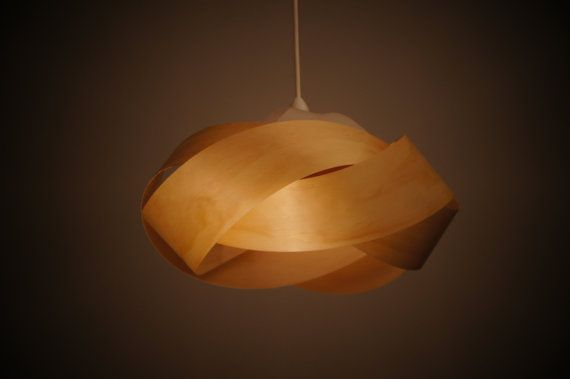 Wood veneer pendant light shade - Wrap by Minnowlighting on Etsy, $250.00 (www.minnow.co.nz)