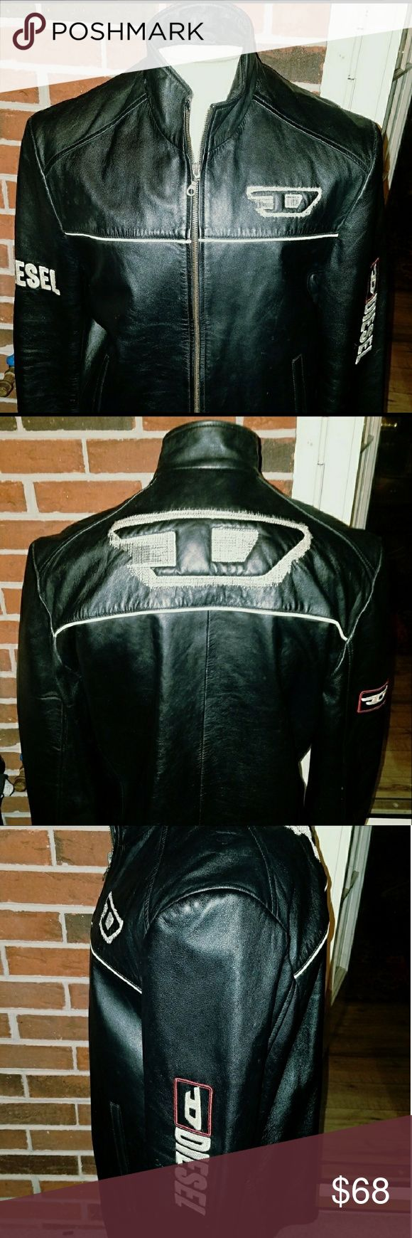 """Womans Soft Leather Diesel Jacket Sz 2XL Used but in great condition. No torn spots and zipper functions fine. The """"D"""" for """"Diesel"""" is elegantly embroidered into the back and front of this jacket (These are NOT patches). This can be worn as a casual jacket or as a biker jacket. There are no returns or refunds for non-fitment. I list what doesn't fit me back onto Poshmark. This is just Poshmark etiquette to me. Diesel Jackets & Coats"""