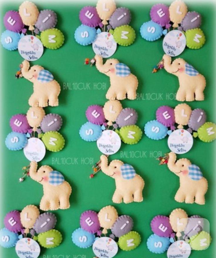 Filli balonlu magnet modelleri bebek şekeri olarak isme özel hazırlandılar. keçeden yapılmış yüzlerce farklı kız ve erkek bebek hediyeliği, hastane çıkış setleri, lohusa...