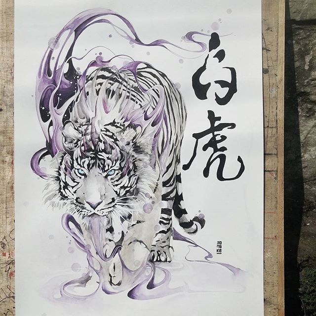 "Instagram media by jongkie - ""Byakko"" - The White Tiger of West.  Watercolour and ink (for calligraphy) on Canson watercolour paper size 42,0x59,4 cm 200gsm. Painted with direct brush techniques (without pre-sketch). SOLD  #watercolour #watercolor #art #painting #chinese #japanese #animals #artwork #illustration #byakko #baihu by #jongkie #calligraphy"
