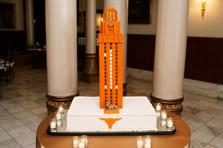 Grooms Cake | UT Tower Cake gold linens | candles | Marquee Event Group | The Driskill | Bouquets of Austin | Kristi Wright Photography | Pearl Events Austin