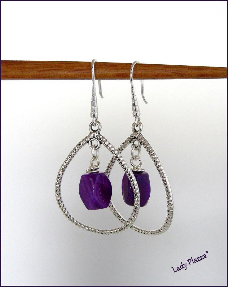 Boucles d'oreilles / Créoles, Agates violettes - Argent : Boucles d'oreille par ladyplazza