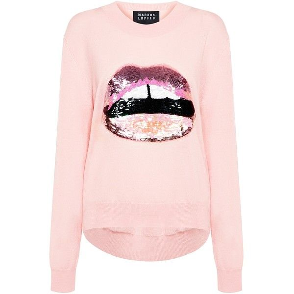 Markus Lupfer - Lara Lip Joey Sequin Sweater (£300) ❤ liked on Polyvore featuring tops, sweaters, lip top, pink top, lip print sweater, pink sequin top and merino wool tops