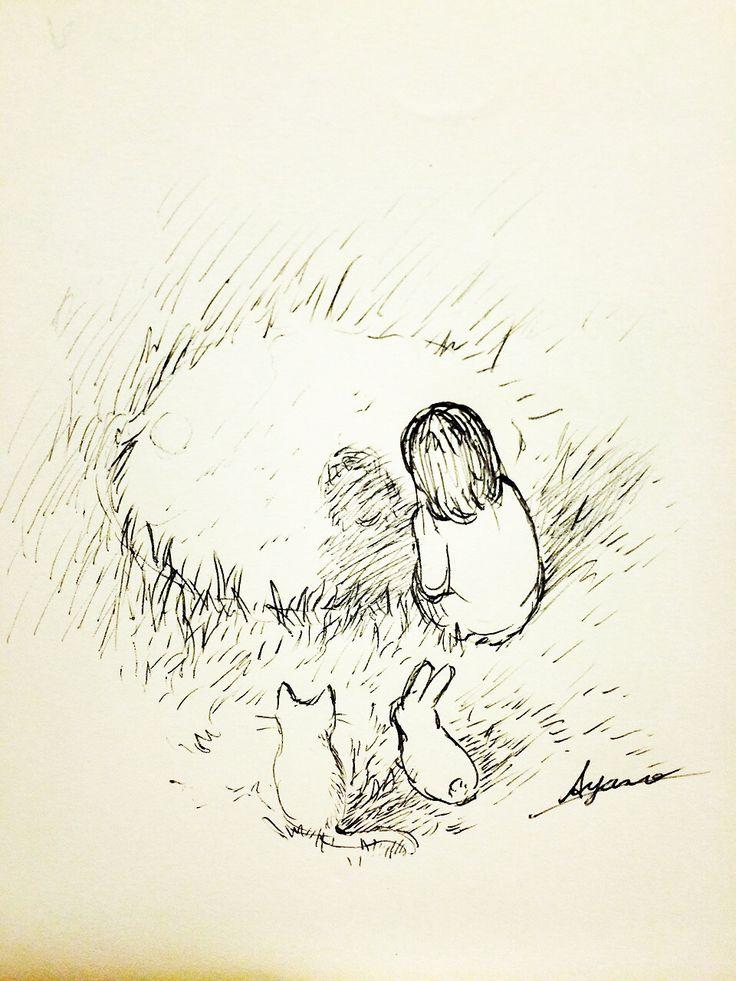 女の子とネコとウサギ。 何が見えるのかな。