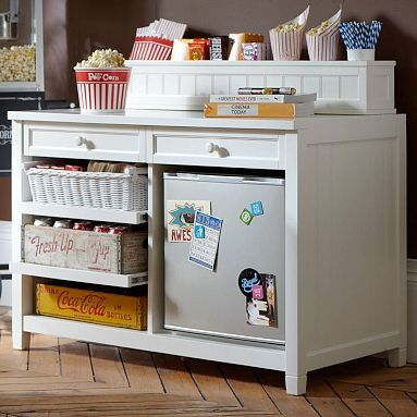 Really cool for the bonus room.  I love the Beadboard Snack Bar Console + Hutch on pbteen.com: Games Rooms, Beadboard Snacks, Movie Rooms, Old Dressers, Theater Rooms, Media Rooms, Snacks Bar, Pottery Barn, Bar Consoles
