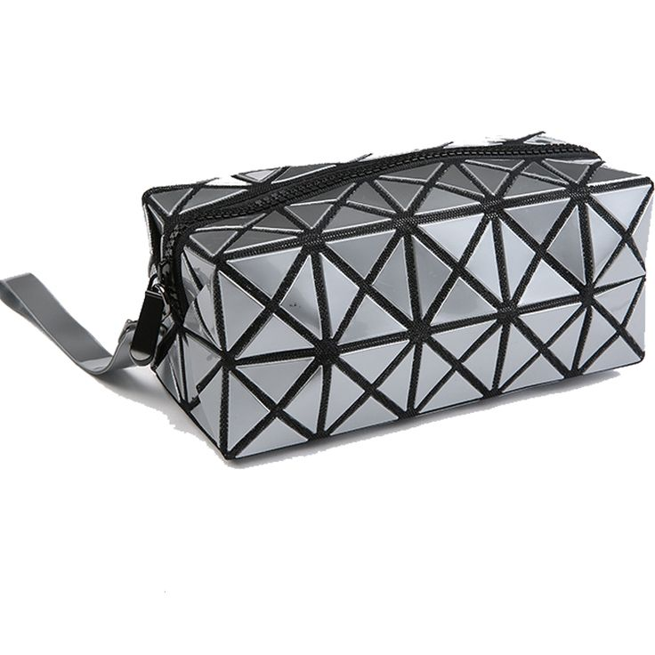 Women Organizador Bolso Geometric Stitching Clutch Pu Hand Bags Wash Cute Makeup Bag Necessarie Trousse De Maquillage Sac