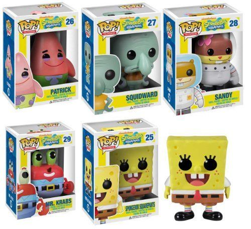 Funko POP Spongebob Vinyl Figures Set of Five: Spongebob, Squidward, Patrick Star, Sandy, Mr. Krabs by Funko. $54.99. A Nickelodeon Favorite. Includes all 5 charaters in Spongebob Squarepants Shows. Collect them all!. Spongebob Squarepants!. This set includes all five characters in Spongebob Squarepants shows: Spongebob, Squidward, Patrick Star, Mr. Krabs and Sandy. Each figure is about 4 inches tall and comes in its own displayable box. Anybody who loves the SpongeBob ...