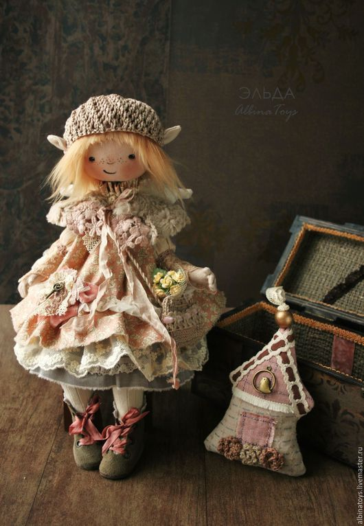 Коллекционные куклы ручной работы. Домовая эльфочка Эльда в бохо стиле. Текстильная кукла.. ALBINAToys.. Интернет-магазин Ярмарка Мастеров.