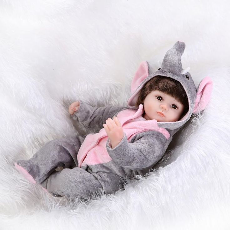 62.02$  Buy here - http://alid04.worldwells.pw/go.php?t=32669176459 - 42cm Silicone Bebe Reborn Baby Doll Cloth body Toy Doll Reborn Babies Our Generation Dolls Birthday Gifts Girl Elephant Clothes 62.02$