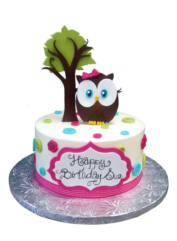 Hand made fondant Cute Owl complete cake kit with birthday plaque, stand up tree and owl with dots and ribbon on Etsy, $34.58 CAD