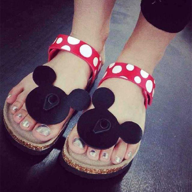 Lato Mysz Buty Kobieta Sandały Mujer Śliczne Dot Klapki Korek Kapcie damskie Ladies Dziewczyny Płaskie Sandały Buty Plażowe Plus rozmiar