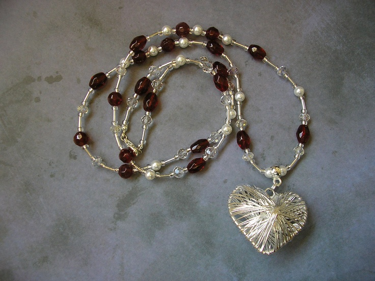 Silver Wire Heart - Red and Silver beaded necklace, via Etsy.
