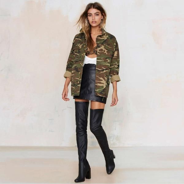 HDY Haoduoyi 2016 Fashion Women Loose Camouflage Coat Stand Collar Pocket Long Sleeve Zipper Outwear Jacket-Enso Store-Army green-S-Enso Store