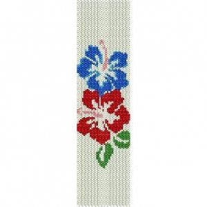 HIBISCUS DUO  - LOOM beading pattern for cuff bracelet