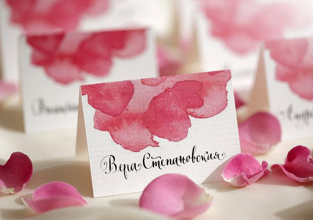 wedding, place card, stationary, calligraphy, watercolor | Flickr - Photo Sharing!