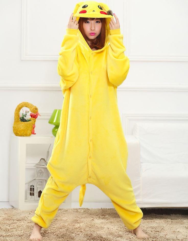 Pocket Monster Pikachu unisex adults flannel animal Pajamas cosplay Pijama cute Onesies Pyjamas Robe #Affiliate