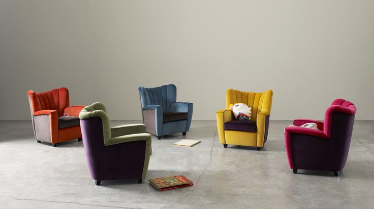 Little armchair. Wooden frame with polyurethane upholstery. Adele-c - Zarina baby #armchairs #colours