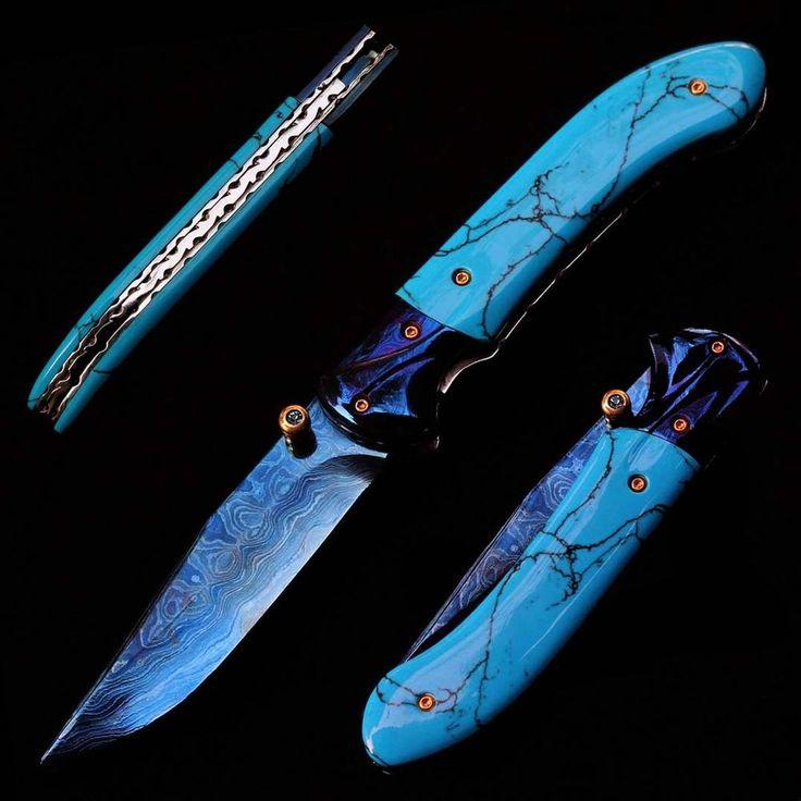 Details About Damascus Steel Blade Pocket Folding Knife