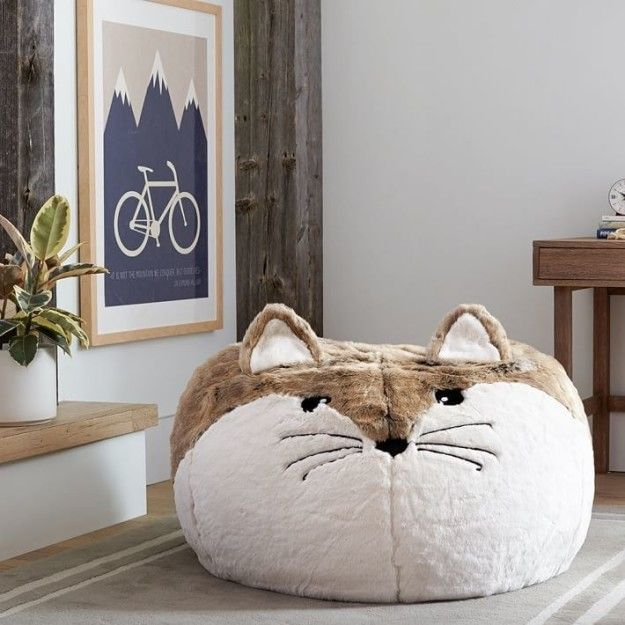 An Insanely Plump Faux Fur Beanbag For Fox Lovers Near And Far 38 Of The Cutest Animal Themed Products You Ve Ever Bean Bag Chair Animal Bedroom Fox Bedroom