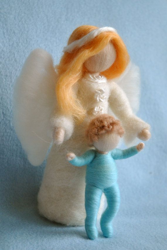 *NEEDLE FELTED ART ~ Waldorf inspired needle felted dolls :Guardian Angel with Baby girl,baby boy ,girl or Boy ( made to order)