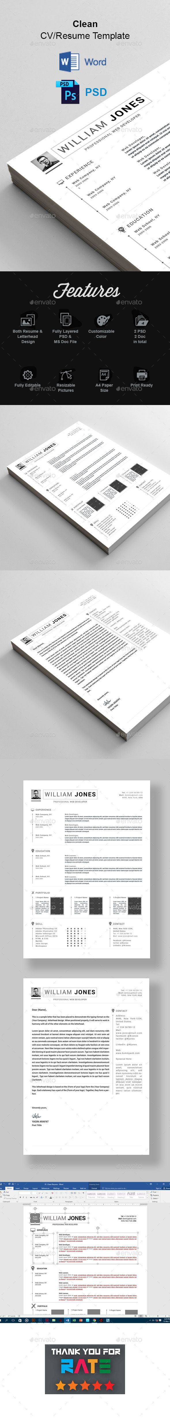 Clean Resume & Letterhead — Photoshop PSD #clean resume #reference • Download ➝ https://graphicriver.net/item/clean-resume-letterhead/18889502?ref=pxcr