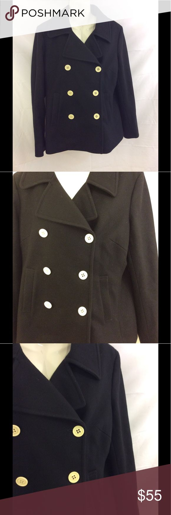 J.crew Black wool double breasted lined pea coat L Excellent used condition J.Crew black pea coat Double breasted Cream colored buttons Two front pockets Removable lining Size large Length from top to bottom 29 inches Armpit to armpit 21 inches Arm length 24 1/2 inches Belt in back with double button J. Crew Jackets & Coats Pea Coats