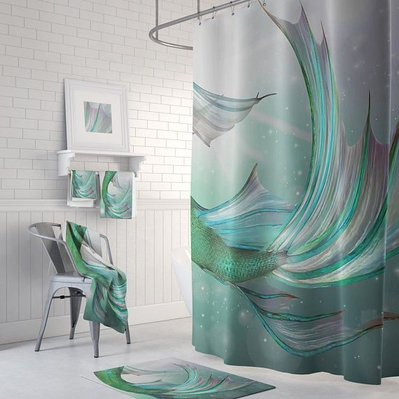 Mermaid Bathroom Decor Shower Curtain Bath Mats And Hand