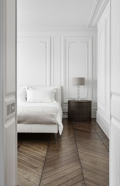 Bedroom with herringbone floors, studio, home decor, interior design, simplified home, interiors, living spaces, modern, open concept, neutrals