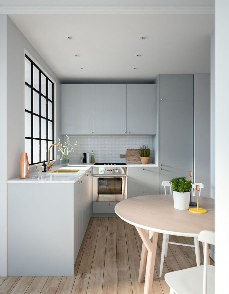 Small kitchen, but it looks quite functional and stylish. That soft powder  grey/