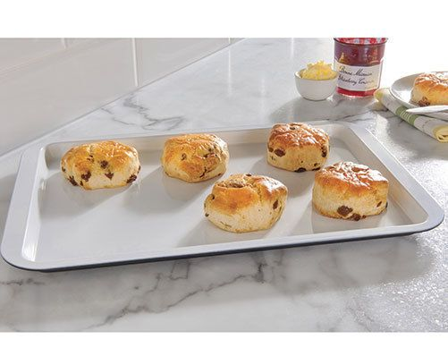 Baking Sheet £9.45. Black base, white non-stick ceramic coated top. Made from carbon steel.   eBay!