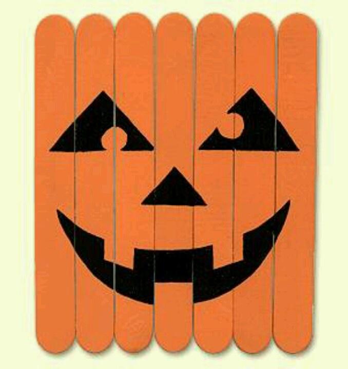 craft sticks pumpkin - Halloween Crafts Construction Paper