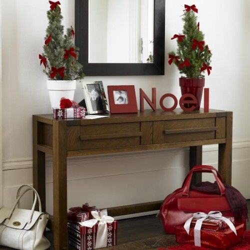 Very simple idea for a console table in hallway. christmas-hallway