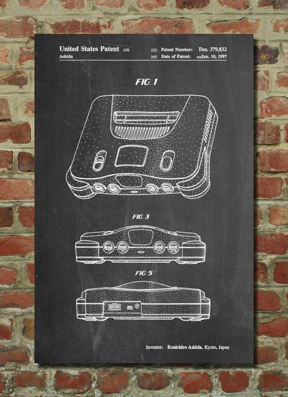 Nintendo 64 Poster, Nintendo 64 Patent, Nintendo 64 Print, Nintendo 64 Art, Nintendo 64 Decor, Nintendo 64 Blueprint