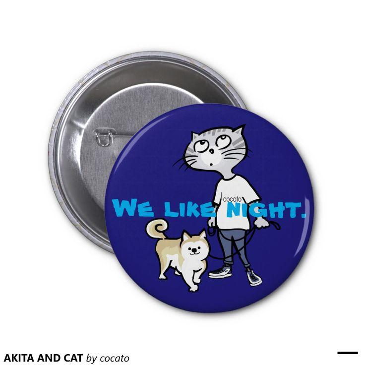 AKITA AND CAT Metal badges.5.7CM 丸型バッジ