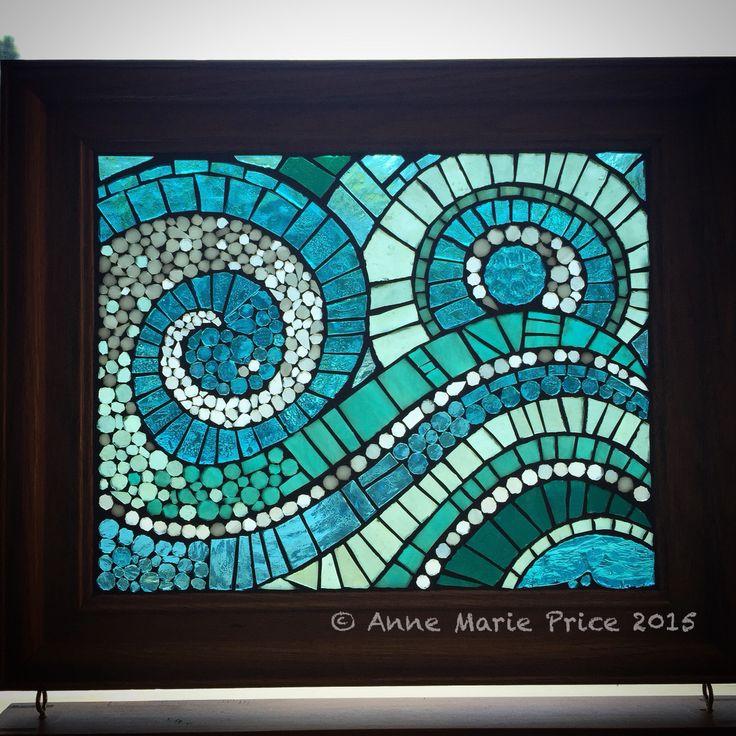 The Dance by Anne Marie Price 2015 AMP Art Studio #AnneMariePrice #CA #stainedglass #wave #oceanminded #AMPartStudio #TheDance #ocean #blue