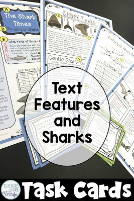 Text features and task cards all about Sharks!
