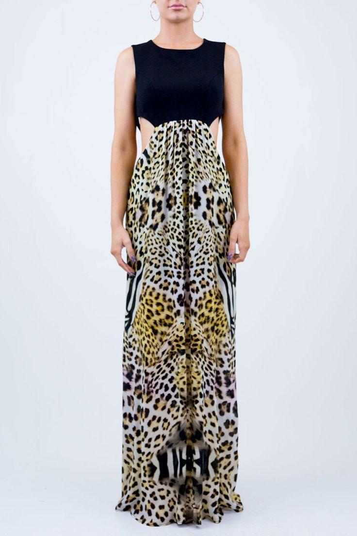 Black Leopard Maxi Dress - Designer Women's Clothing - Shahida Parides