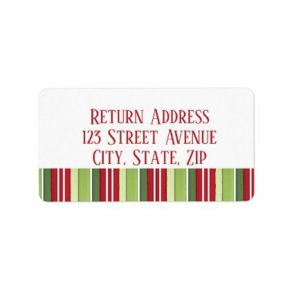 red and green stripes Holiday Mailing Label - red gifts color style cyo diy personalize unique