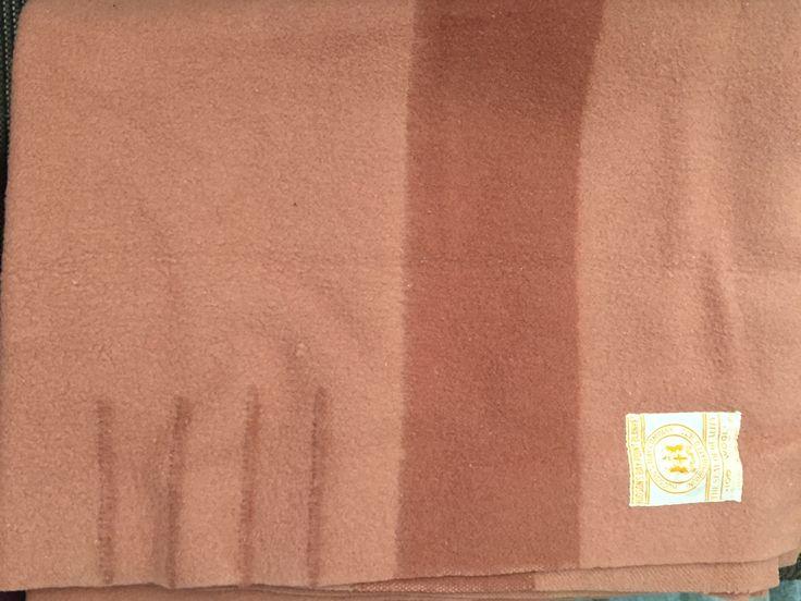 "Hudson's Bay wool blanket: 4 point, 72.5""x91.5"", Caramel color, 1930's."