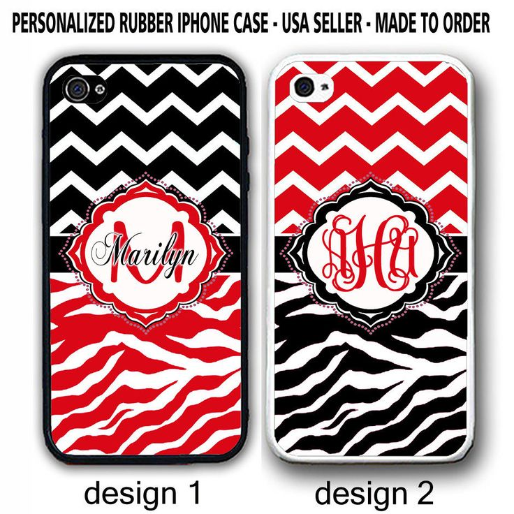 WHITE RED BLACK ZEBRA CHEVRON CUSTOM MONOGRAM RUBBER CASE For iPhone 7 6 PLUS SE #UnbrandedGeneric