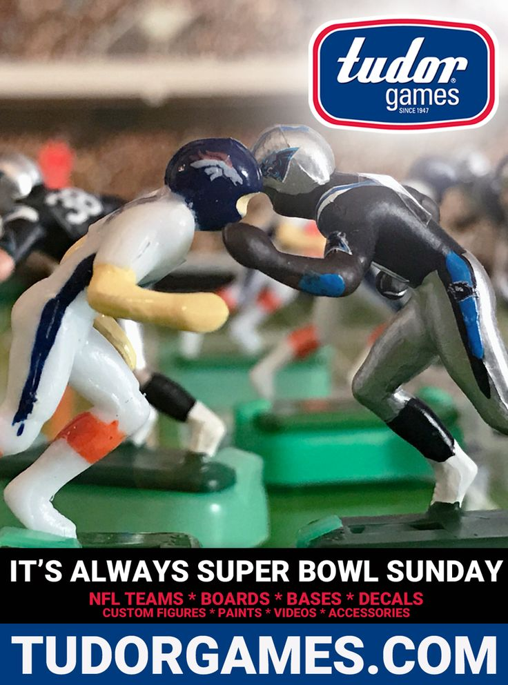 Today in Super Bowl History 2/7/16: The Denver Broncos beat the Carolina Panthers 24-10 in Super Bowl 50. Every NFL Team and everything you need to start or to enhance your Electric Football experience is available at http://www.tudorgames.com/