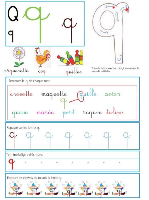 Imprimer la page sur le q - Livre GS / CP sur les minuscules