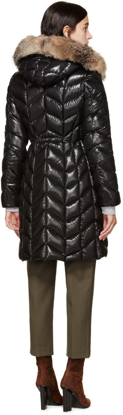 Moncler Black Laquered Down & Fur Bellette Coat