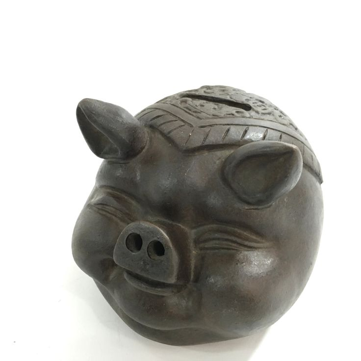 New to MammothMisc on Etsy: Clay Piggy Bank  Carved Wood Piggy Bank  Black Piggy Bank  Brown Piggy Back  Rustic Piggy Bank (28.00 USD)